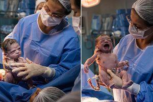 Bé gái vừa chào đời đã 'lườm' bác sĩ tóe lửa gây sốt mạng xã hội
