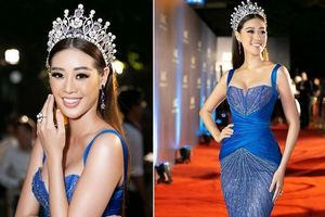 Hoa hậu Khánh Vân diện đầm xanh lộng lẫy, lấp ló vòng 1 quyến rũ