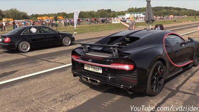 Video siêu xe Bugatti Chiron 'đối đầu' với Audi S4 1.300 mã lực
