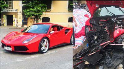 Siêu xe Ferrari 488 GTB 16 tỷ của Tuấn Hưng 'nát đầu'