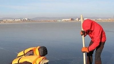 Giải cứu chú chó bị mắc kẹt giữa hồ băng ở Siberia