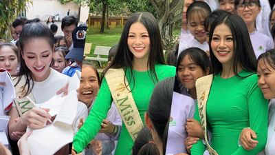 CLIP: Hoa hậu Phương Khánh tất bật dự 'event quê nhà', ký tặng mỏi tay như ra album ca nhạc