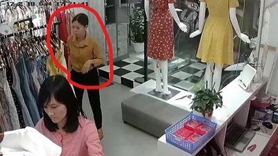 Giả vờ mua đồ rồi cuỗm bay 2 túi xách trong shop quần áo