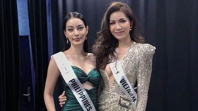 Minh Tú diện đầm xẻ cao, đọ dáng người đẹp Hoa hậu Siêu quốc gia