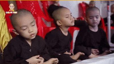 Cùng team ngồi thiền, thành viên 5 chú tiểu lại đốn tim bao người với khoảnh khắc ngủ gật cực yêu