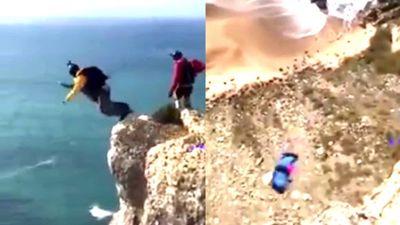 Clip dân chơi chết thảm vì liều mạng nhảy dù từ vách núi