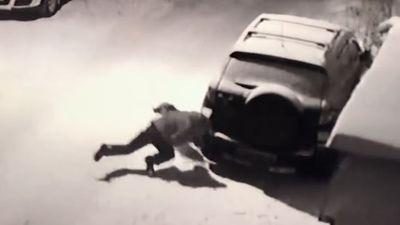 Người đàn ông chọc chó té đập đầu vào đuôi xe ôtô