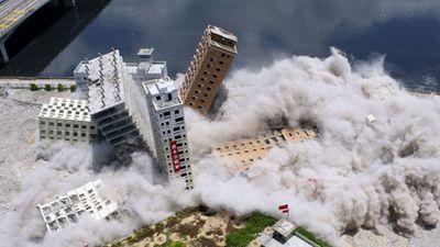 Kinh hoàng sức tàn phá của thuốc nổ lên một tòa nhà