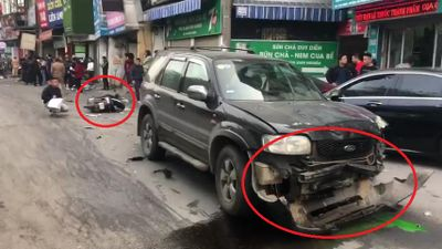 Clip: Hiện trường xe điên đâm hàng loạt ô tô, xe máy trên phố Ngọc Khánh, Hà Nội