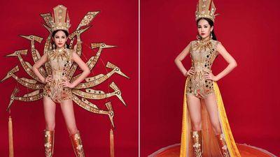 Diện trang phục dân tộc nặng 50kg, Lê Âu Ngân Anh loạng choạng trên sân khấu Hoa hậu Liên lục địa