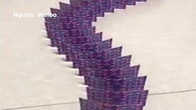 Màn xô đổ domino được xếp bằng hàng nghìn chiếc bài tây
