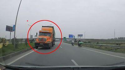 Container đi ngược chiều kiểu 'giết người' trên cao tốc Hà Nội - Bắc Giang