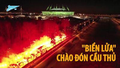 CĐV tạo 'biển lửa' chào đón đội bóng