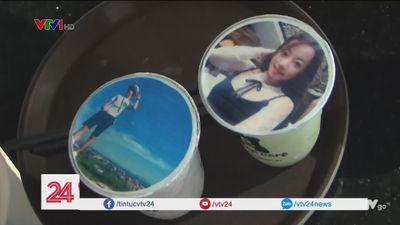 Độc đáo trà sữa in hình cá nhân ở Sài Gòn