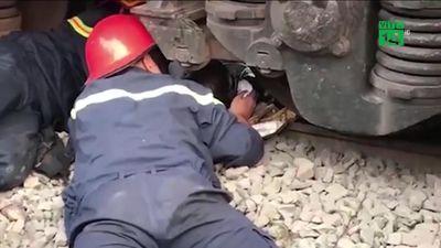 Nghẹt thở giải cứu người đàn ông mắc kẹt dưới gầm tàu hỏa ở TP.HCM