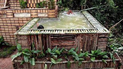Tròn mắt xem 'biệt thự' có bể bơi được xây bằng tay chỉ trong vài ngày!