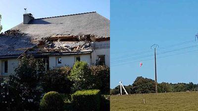 Tiêm kích F-16 rơi xé rách mái nhà dân, phi công mắc trên dây điện cao thế