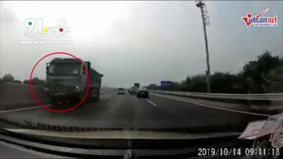 Xe ben liều mạng chạy ngược chiều trên cao tốc 5B, suýt gây thảm họa