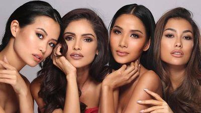 Hoàng Thùy chăm diện đầm xẻ ngực ở Hoa hậu Hoàn vũ 2019