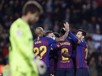 Cú đúp của Dembele và 1 pha lập công của Leo Messi đã giúp Barcelona đánh bại Levante 3-0 ở trận lượt về vòng 1/8 Cúp nhà Vua qua đó vượt qua đối thủ với tổng tỷ số 4-2 sau 2 lượt trận.