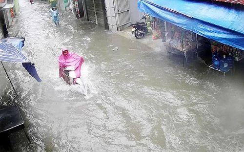 Hà Nội: Mưa sầm sập, gió quật mạnh, cây đổ, một số tuyến phố ngập sâu