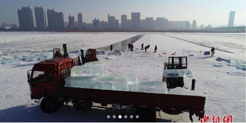 Xem dân Trung Quốc thu hoạch băng đá giữa trời giá rét