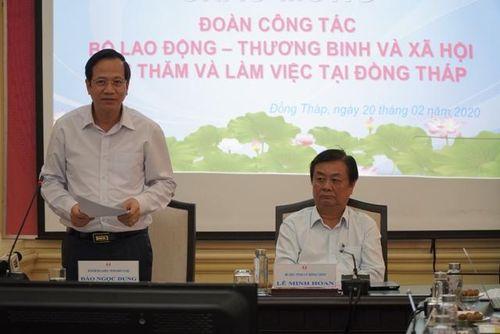 Bộ trưởng Bộ Lao động - Thương binh và Xã hội Đào Ngọc Dung thăm và làm việc tại tỉnh Đồng Tháp