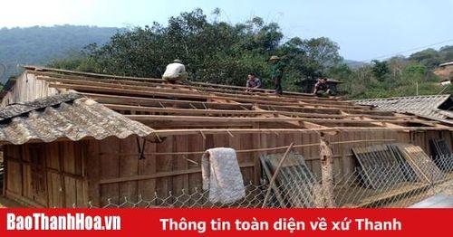 Huyện Mường Lát khắc phục thiệt hại do mưa đá, giông lốc gây ra