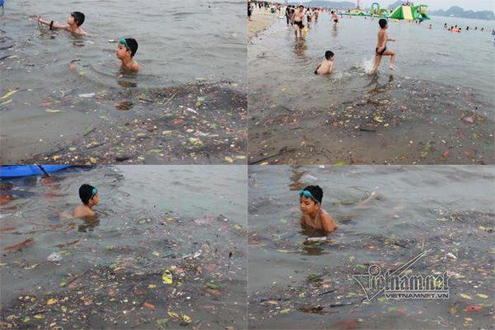 Báo 2Sao: Bãi tắm Hạ Long rác đủ loại lềnh phềnh, trẻ nhỏ hồn nhiên ngụp lặn