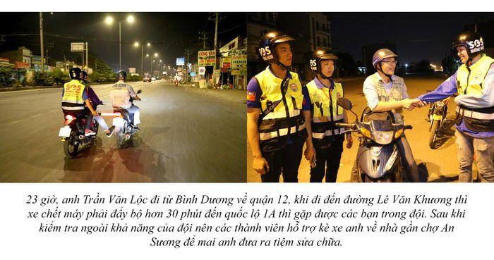 Biệt đội cứu hộ xuyên đêm miễn phí ở Sài Gòn (xe bể bánh, hết xăng, hư bugi,...) 15