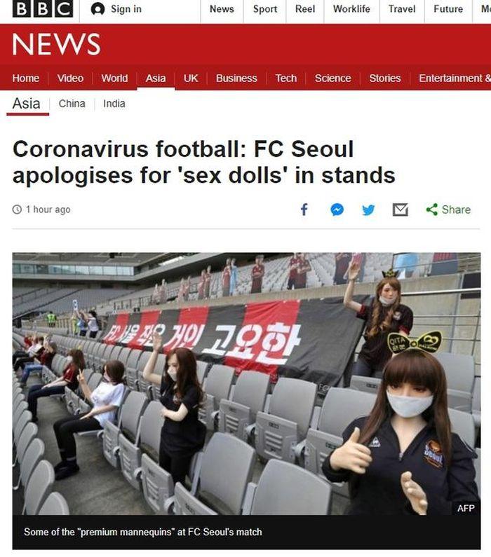 Đội bóng Hàn Quốc nhận cái kết đắng vì dùng búp bê tình dục cổ vũ